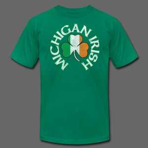 Michigan Irish Shamrock Flag - Men's T-Shirt by American Apparel