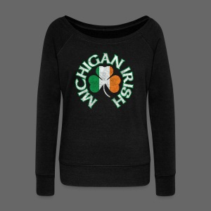Michigan Irish Shamrock Flag - Women's Wideneck Sweatshirt