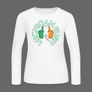 Michigan Irish Shamrock Flag - Women's Long Sleeve Jersey T-Shirt