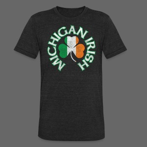 Michigan Irish Shamrock Flag - Unisex Tri-Blend T-Shirt by American Apparel