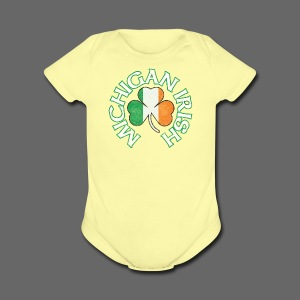 Michigan Irish Shamrock Flag - Short Sleeve Baby Bodysuit