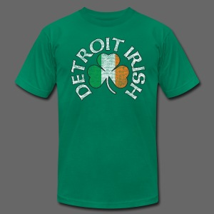 Detroit Irish Shamrock Flag - Men's T-Shirt by American Apparel