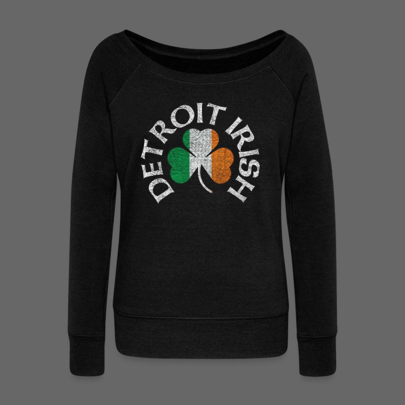 Detroit Irish Shamrock Flag - Women's Wideneck Sweatshirt