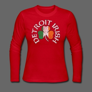 Detroit Irish Shamrock Flag - Women's Long Sleeve Jersey T-Shirt