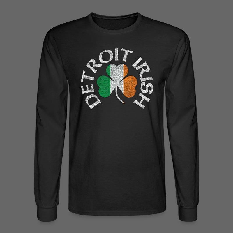 Detroit Irish Shamrock Flag - Men's Long Sleeve T-Shirt