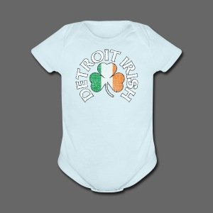 Detroit Irish Shamrock Flag - Short Sleeve Baby Bodysuit