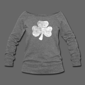 Distressed Irish Shamrock  - Women's Wideneck Sweatshirt