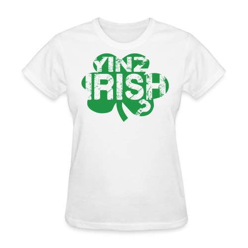 Women's Yinz Irish? Standard T - Green Text - Women's T-Shirt