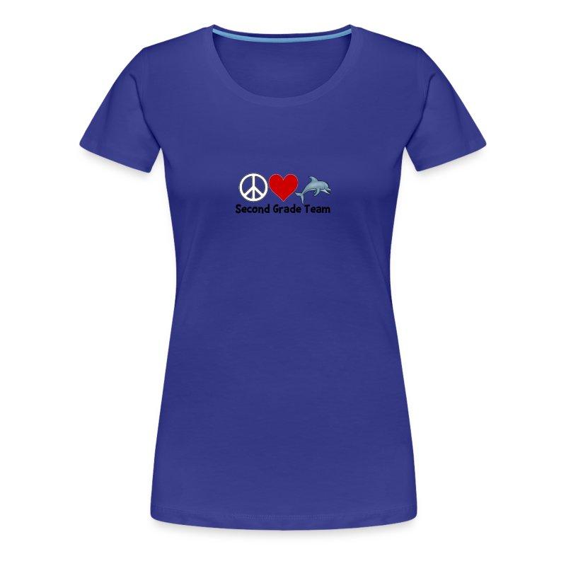 Peace.  Love.  Dolphins. (Second Grade) - Women's Premium T-Shirt