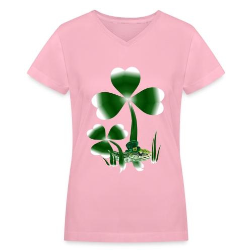Shamrocks N Snakes - Women's V-Neck T-Shirt