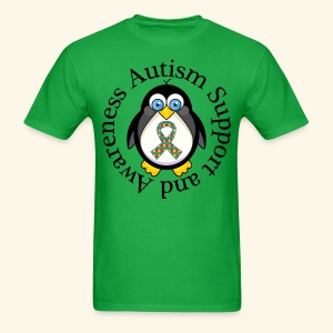 Autism Awareness Penguin T-shirt - Men's T-Shirt