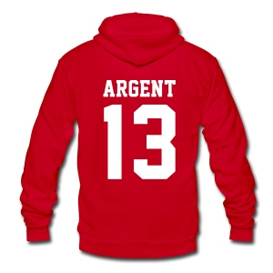 ARGENT 13 - Zip-up (S Logo, NBL) - Unisex Fleece Zip Hoodie by American Apparel