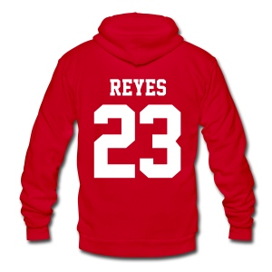 REYES 23 - Zip-up (S Logo, NBL) - Unisex Fleece Zip Hoodie by American Apparel