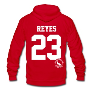 REYES 23 - Zip-up (S Logo) - Unisex Fleece Zip Hoodie by American Apparel