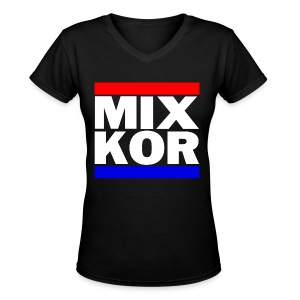 MIX KOR Women's V-neck T-Shirt - Black - Women's V-Neck T-Shirt