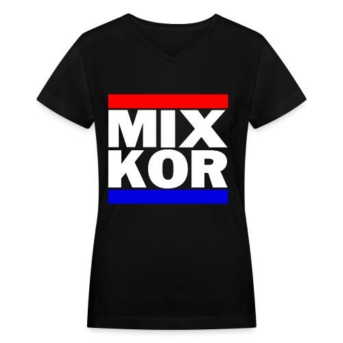 MIX KOR Women's V-neck T-Shirt - Black - Women's V-Neck T-Shirt
