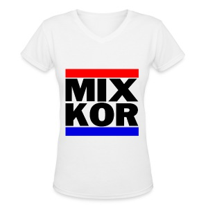 MIX KOR Women's V-neck T-Shirt - White - Women's V-Neck T-Shirt