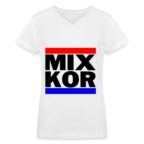 MIX KOR Women's V-neck T-Shirt - White - Women's V-Neck T-Shirt