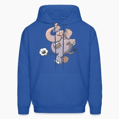 Elephant Kicking a Ball Hoodies