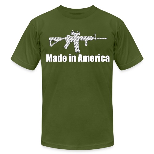 Made in America FITTED (logo pattern in gun) - Men's  Jersey T-Shirt