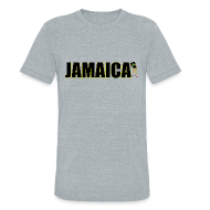 T-Shirts ~ Unisex Tri-Blend T-Shirt ~ Mens Yellow Outline Jamaica T-shirt