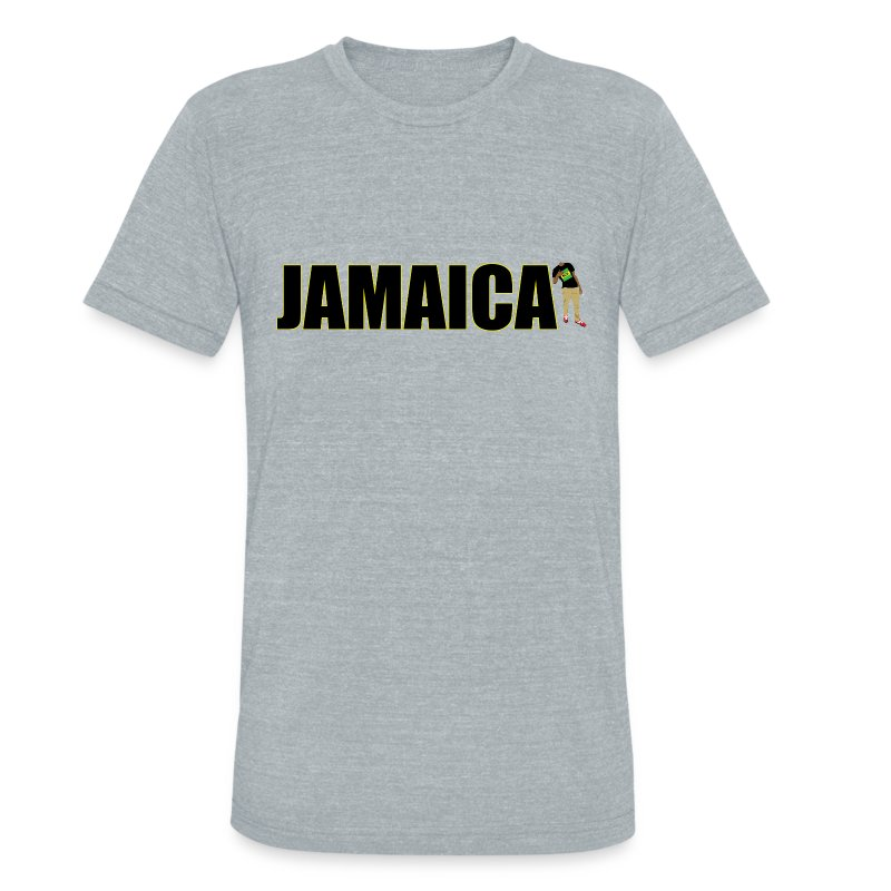 Mens Yellow Outline Jamaica T-shirt - Unisex Tri-Blend T-Shirt by American Apparel
