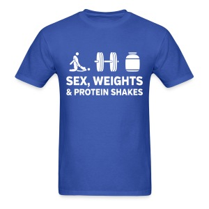 Sex, Weights & Protein Shakes 1 - Men's T-Shirt