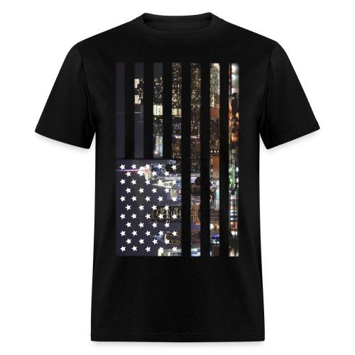 Men's American Flag Skyline Tee - Men's T-Shirt