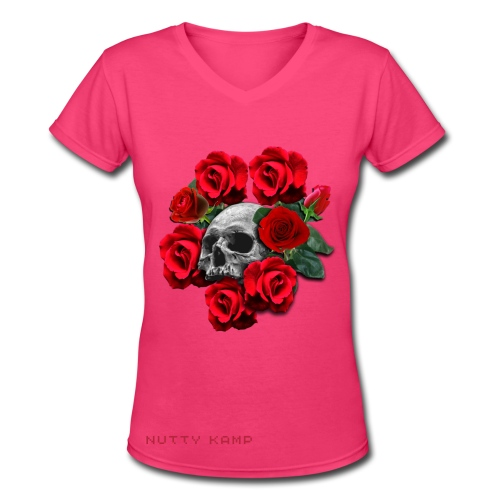 Death Roses Graphic T-Shirt - Women's V-Neck T-Shirt