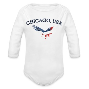 Chicago USA Eagle - Long Sleeve Baby Bodysuit