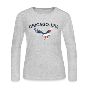 Chicago USA Eagle - Women's Long Sleeve Jersey T-Shirt