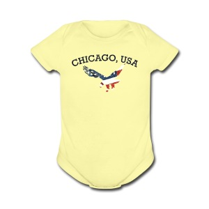 Chicago USA Eagle - Short Sleeve Baby Bodysuit