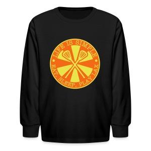Life is Simple, Eat, Sleep, Play LAX T-Shirt - Kids' Long Sleeve T-Shirt