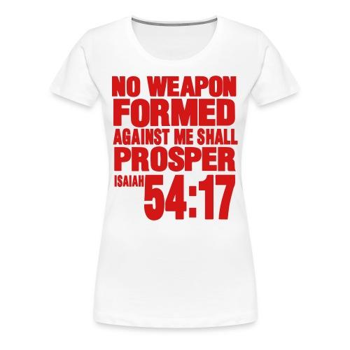 No Weapon Women's Premium T-Shirt White and Red - Women's Premium T-Shirt