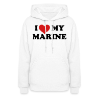 Hoodies ~ Women's Hoodie ~ I heart My Marine Sweatshirt - WHITE