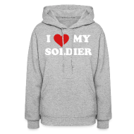 Hoodies ~ Women's Hoodie ~ I heart My Soldier Sweatshirt - GRAY
