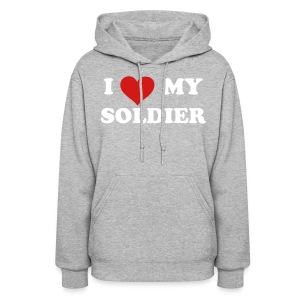 I heart My Soldier Sweatshirt - GRAY - Women's Hoodie