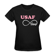 T-Shirts ~ Women's T-Shirt ~ USAF Infinity Love - BLACK