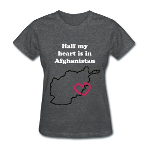 Half my heart is in Afghanistan - GRAY - Women's T-Shirt