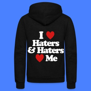 I Love Haters & Haters Love Me Zip Hoodies & Jackets - Unisex Fleece Zip Hoodie by American Apparel