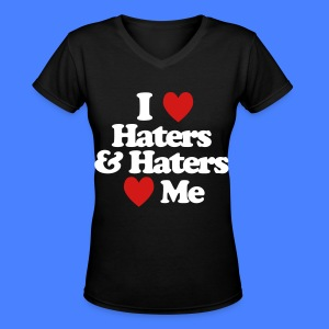 I Love Haters & Haters Love Me Women's T-Shirts - Women's V-Neck T-Shirt