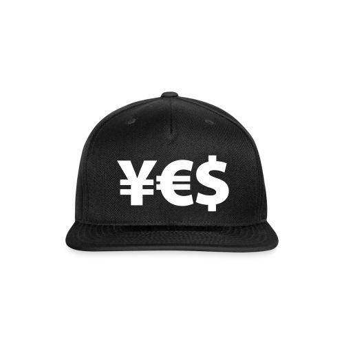 YES YEN EURO DOLLAR SIGN SNAPBACK    - Snap-back Baseball Cap