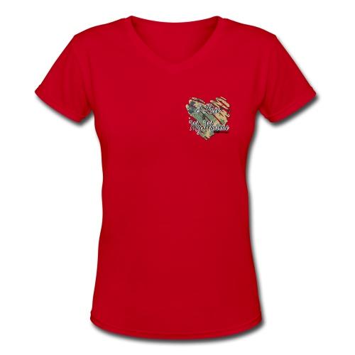 Camo Red V-neck marines - Women's V-Neck T-Shirt
