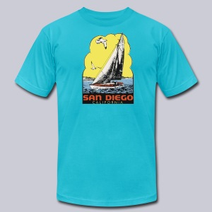 Retro San Diego Sailboat - Men's T-Shirt by American Apparel