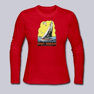 Retro San Diego Sailboat - Women's Long Sleeve Jersey T-Shirt
