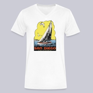 Retro San Diego Sailboat - Men's V-Neck T-Shirt by Canvas