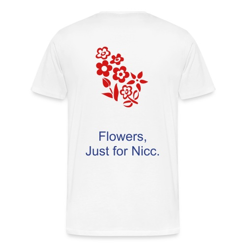 White, HPN Shirt, Red Flowers - Men's Premium T-Shirt