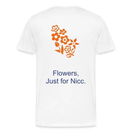 White, HPN Shirt, Orange Flowers - Men's Premium T-Shirt