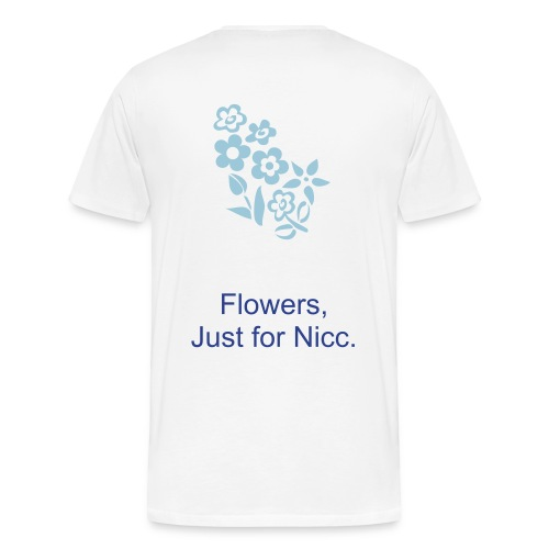 White, HPN Shirt, Blue Flowers - Men's Premium T-Shirt