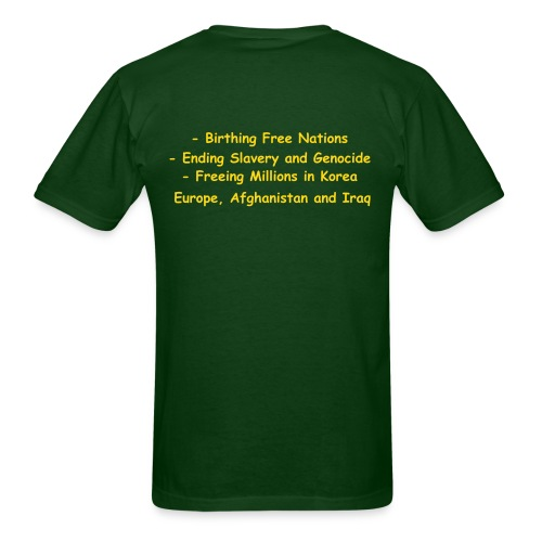 War, what is it good for? (back - Birthing, Ending, Freeing) - Men's T-Shirt